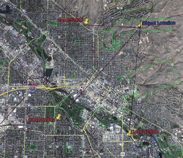 Location of three sets of witnesses in relation to the unknown lights that were observed.