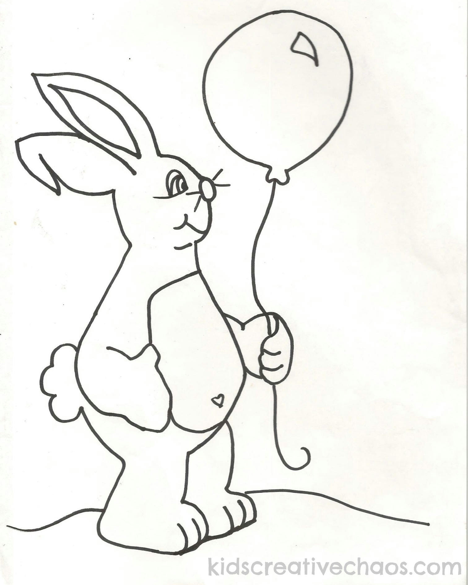 Cute baby bunny with balloon coloring pages sheets clipart