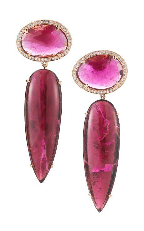 Pink Tourmaline, Rubellite, Gold And Diamond Earrings by Dana Rebecca