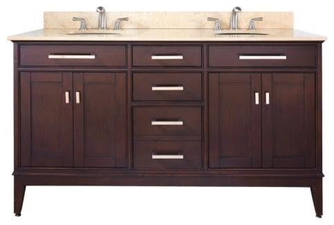 Avanity Madison 60-in. Light Espresso Double Bathroom Vanity with ...
