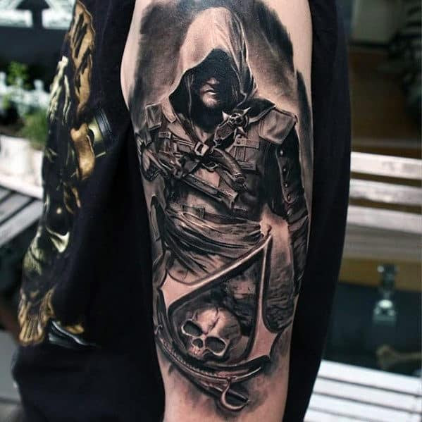 60 Assassins Creed Tattoo Designs For Men Video Game Ink Ideas