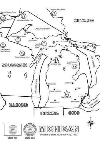 ミシガン州の地図 ぬりえ