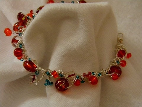 Unique Red and Turquoise Wire Wrapped Free Form Bracelet