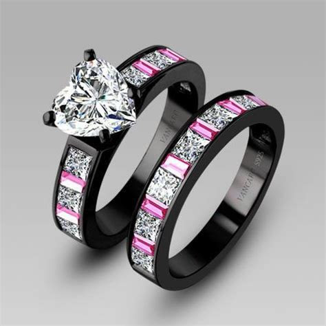 White Heart Cubic Zirconia Black Engagement Ring Wedding