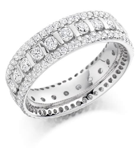 Graduated Triple Row Diamond Set Ring   FET 1371