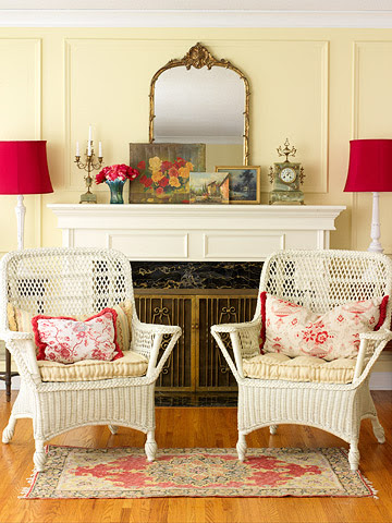 Layered art and accents above mantel