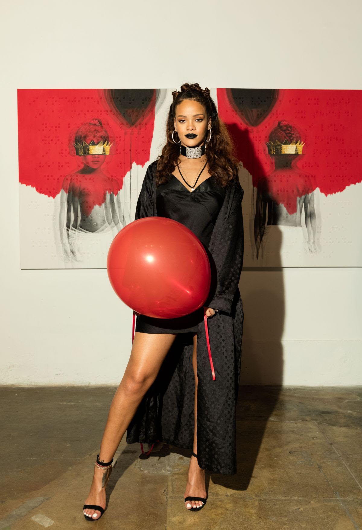 RIHANNA at 8th Album Artwork Reveal for Anti at Mama Gallery in Los Angeles 10/07/2015