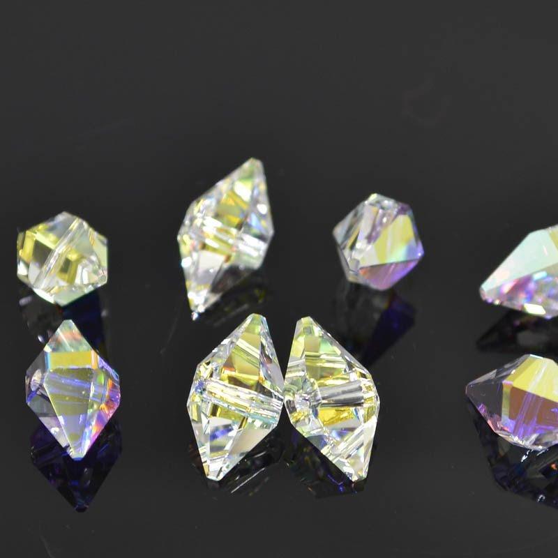 2775747s41252 Swarovski Bead - 6 x 12 mm Double Spike Bead (5747) - Crystal AB (6)