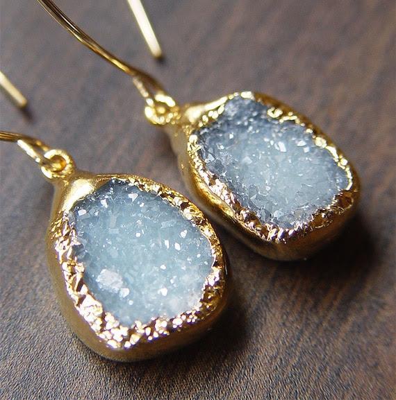 Aqua Blue Druzy Earrings 14k Gold