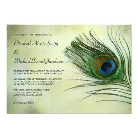 Vintage Peacock Feather Wedding Invitation Card
