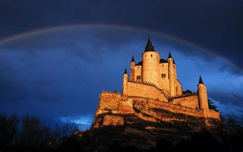 hd rainbow  castle   cliff wallpaper
