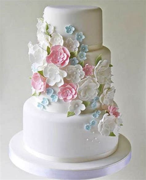 3 Tier Wedding Cake with multi color Flowers   Sri Lanka
