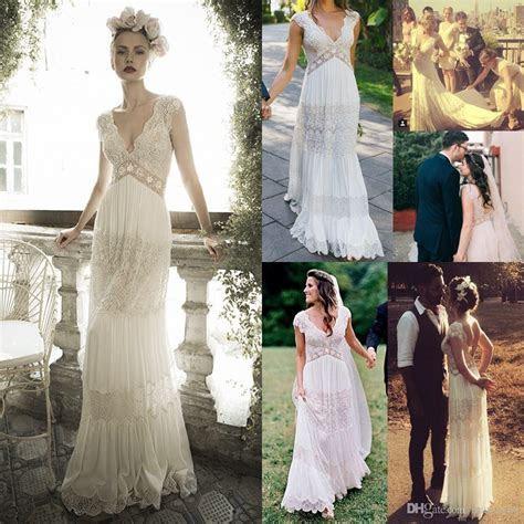 Discount Vintage Lihi Hod Wedding Dresses Sheer Deep V