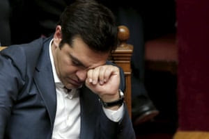 Greek PM Tsipras reacts during a parliamentary session in Athens<br>Greek Prime Minister Alexis Tsipras reacts during a parliamentary session in Athens, Greece July 16, 2015. The Greek parliament passed a sweeping package of austerity measures demanded by European partners as the price for opening talks on a multi-billion euro bailout package needed to keep the near-bankrupt country in the euro zone. REUTERS/Alkis Konstantinidis