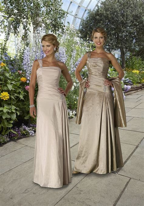 Column long taffeta one shoulder Mother of The Bride Dress