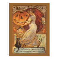 Halloween Vintage Woman and Jack o' Lantern Postcard