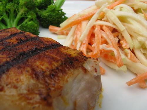 Chile Rubbed Pork Chop with Kohlrabi Slaw