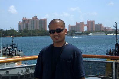 Me posing in front of the Atlantis Resort in Nassau City, on New Providence Island.