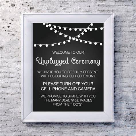 "Wedding Sign Unplugged Wedding Sign 8""x10"" No Camera No"