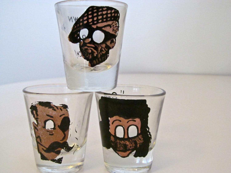 """3 Mid Century Anchor Hocking shot Glasses """"Down Da Hatch"""" """"One is My Limit"""" - Vintage Barware"""