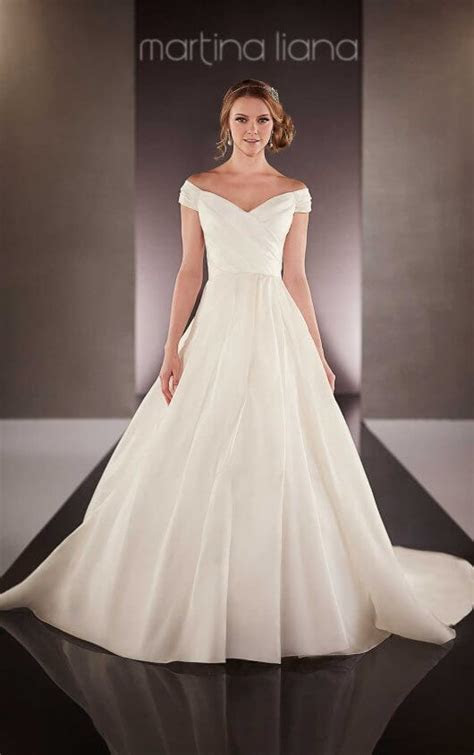 Off the Shoulder Satin Wedding Dress   Martina Liana