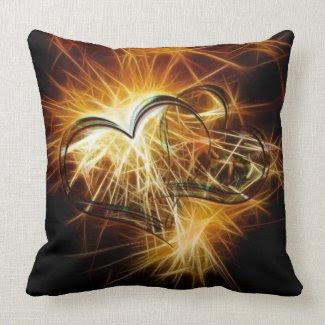 Sparking golden hearts throw pillows