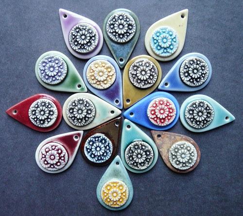 Porcelain flower drop pendants