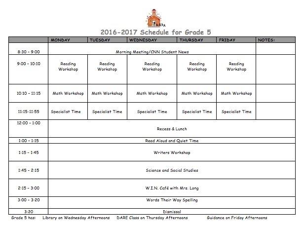 5th Grade Daily Schedule - Wakanda 5th Grade Website