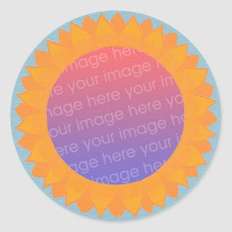 Add your photo stickers, sunflower circle frame classic round sticker