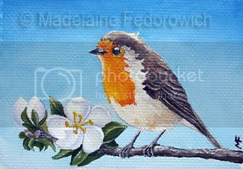oil robin painting