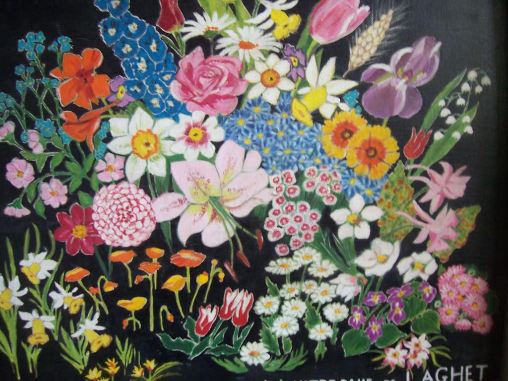 Tableau bouquet de fleurs ex-voto sanctuaire de Laghet (06)