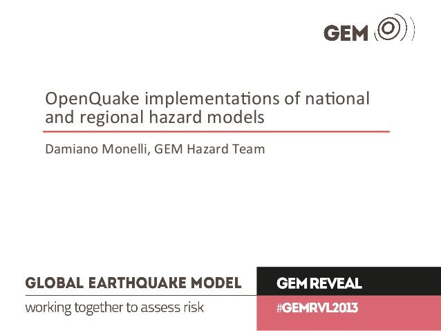OpenQuake implementations of national and regional hazard ...