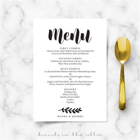 Simple Wedding Menu Card   Printable Templates   Hands in