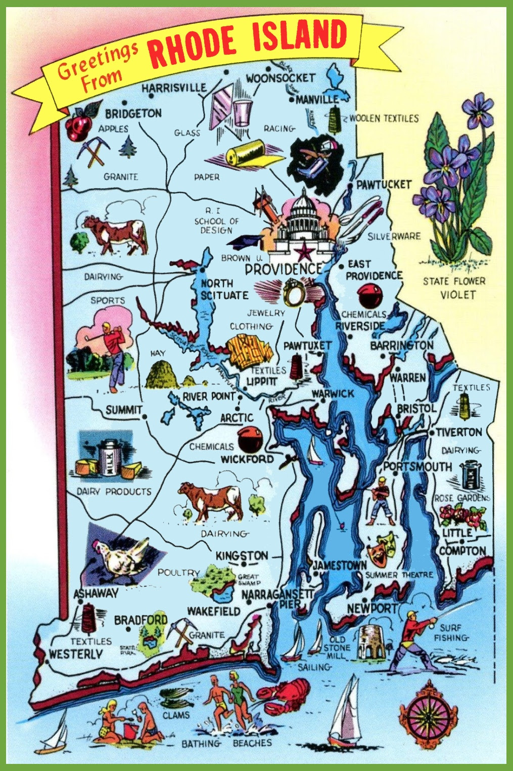 pictorial travel map of rhode island