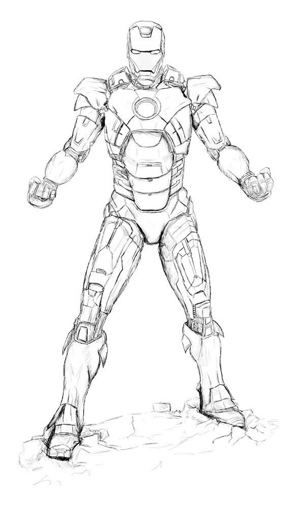 Sketch of Iron Man Coloring Page - NetArt