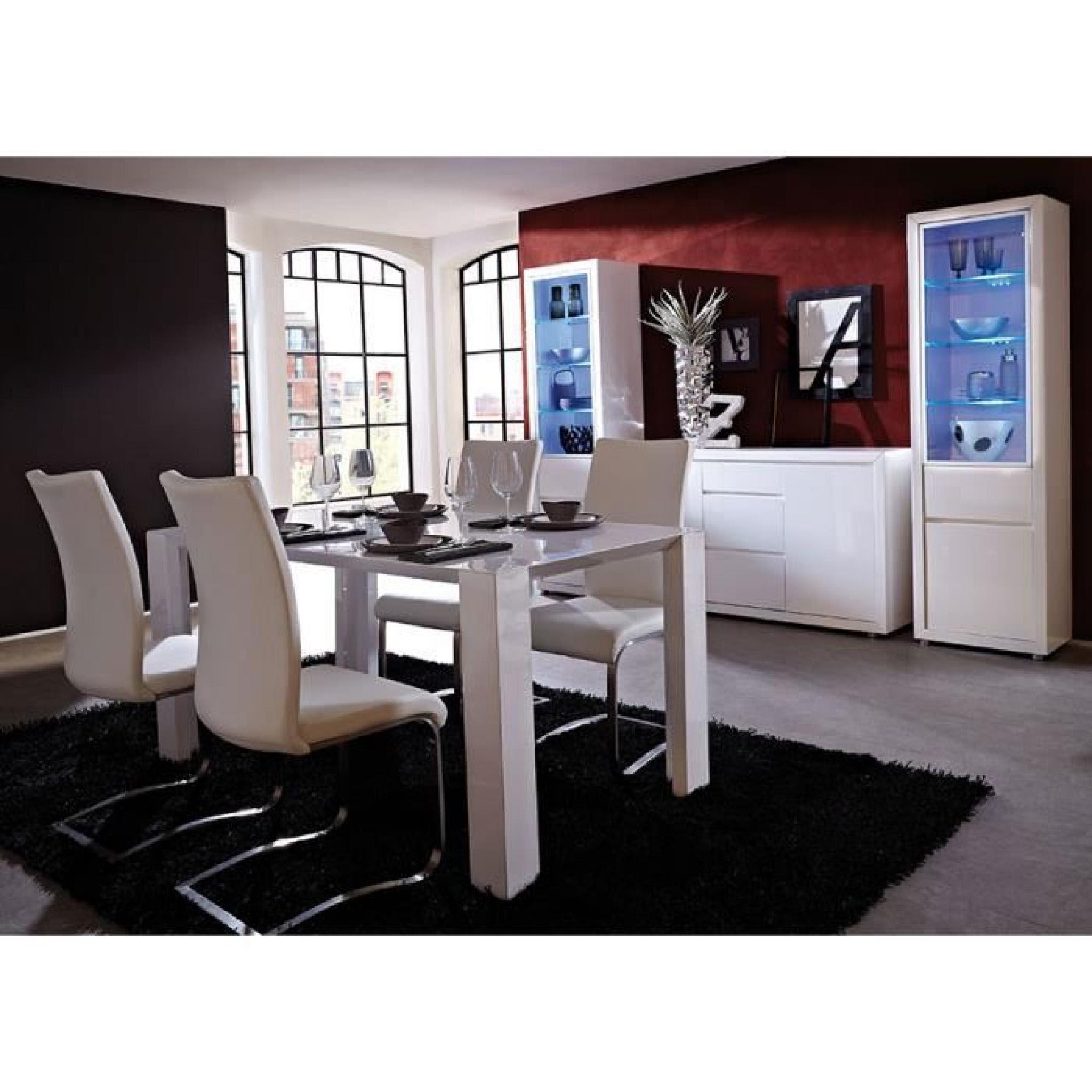 Salle à Manger Complète Blanc Laqué Design Aristo Table 160 Cm Buffet 3 Portes Sans Led