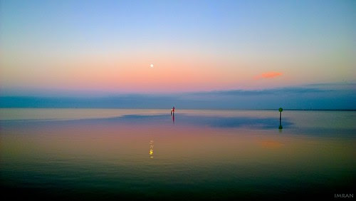 Fall Full Moon Falls As Sun Rises To Keep It At Bay At Tampa Bay - IMRAN™ by ImranAnwar