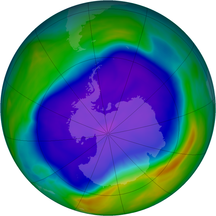 Antarctic ozone map for 24 September 2006
