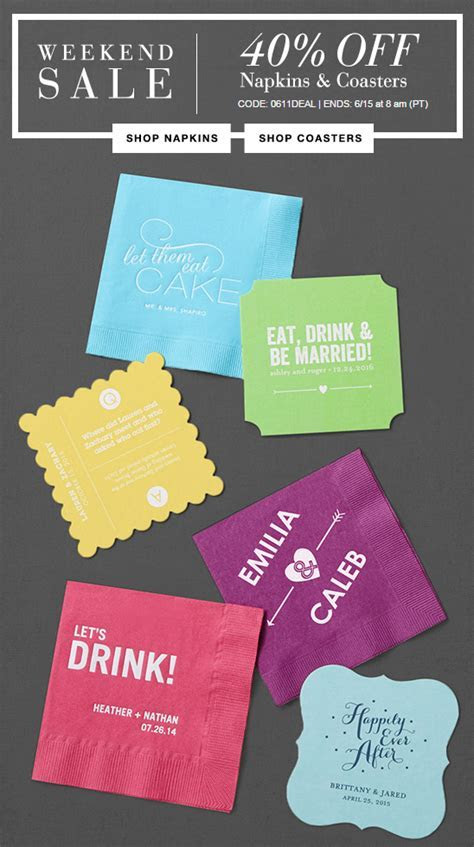 Save 40% OFF custom printed cocktail napkins   Wedding