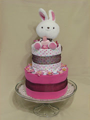 Pink n Brown Bunny Two Tier Diaper Cake for Girl (front)