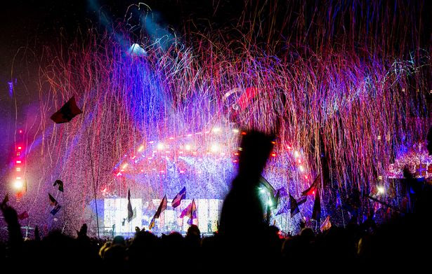 Muse performing at Glastonbury on the Pyramid Stage