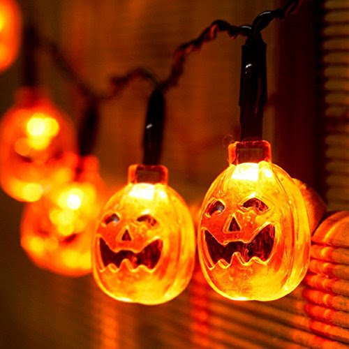 Xcellent Global Battery Powered 3D Jack-O-Lantern Pumpkin 20 LED String Lights Halloween Decoration Lights, Warm white 7.2ft/2.2meters M-LD067