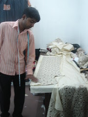 preparing a hand embroided material