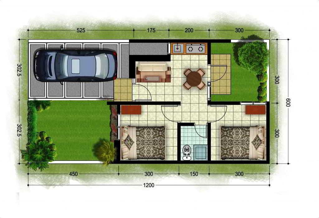 Denah Rumah Minimalis 2 Lantai Luas Tanah 60 Meter Persegi ...