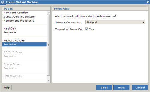 New Virtual Machine Wizard Network Properties