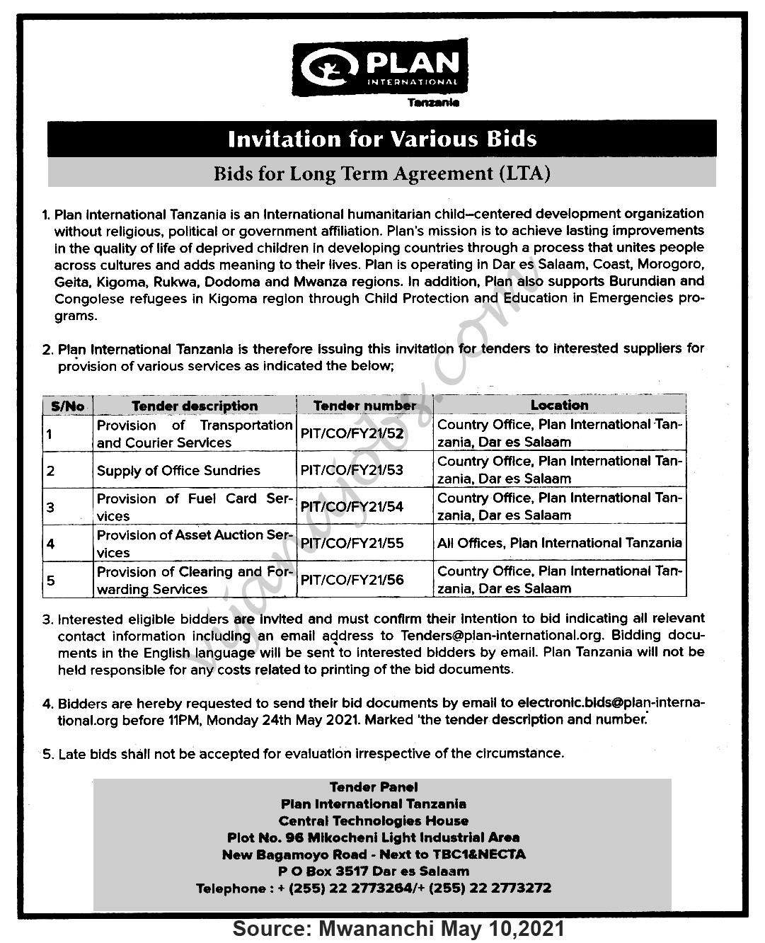 Invitation for various Bids
