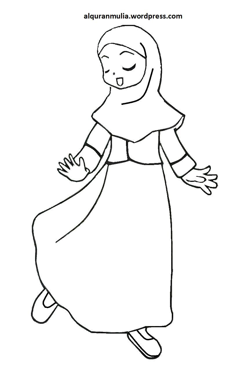 Gambar Ana Muslim Untuk Mewarnai Sketch Coloring Page Sketch