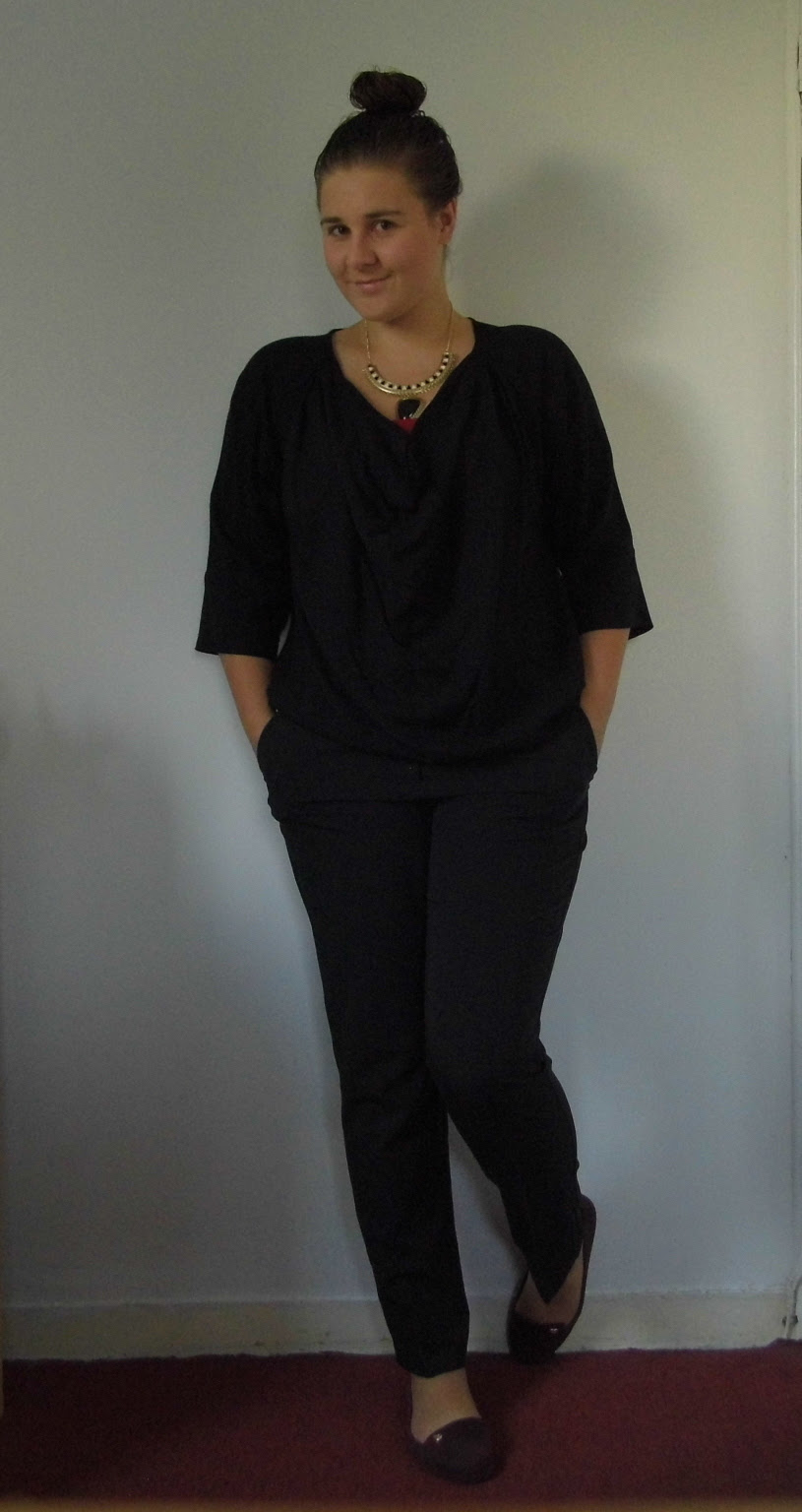 Black Trousers & French Connection Shirt & Red Mel Shoes