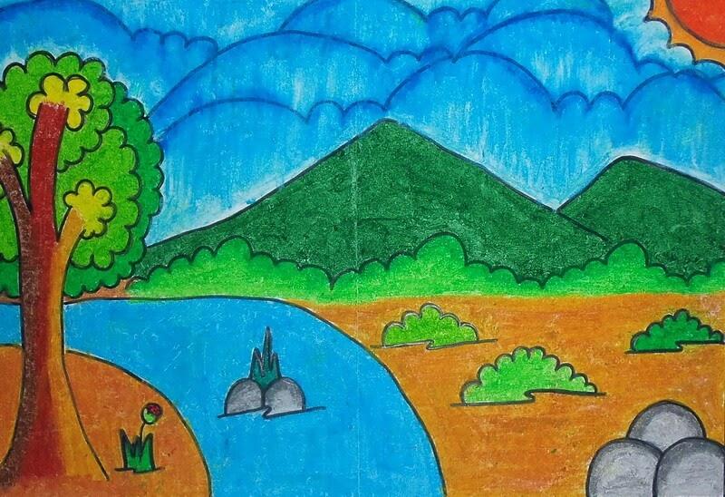 83 Ide Gambar Pemandangan Alam Kelas 2 Sd Sketsa Pemandangan