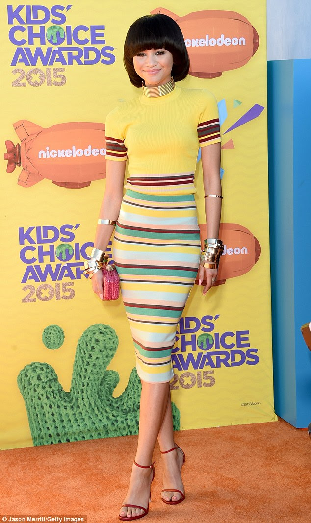 Solid gold! Zendaya Coleman made her first red carpet appearance since the Fashion Police controversy at the Nickelodeon Kids' Choice Awards on Saturday